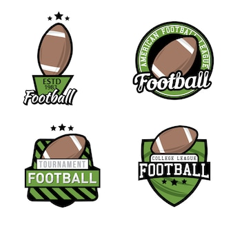 Set di campionato di football americano / torneo / club logo, badge, etichette, icone ed elementi di design.
