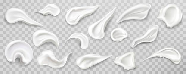 Set di campioni di strisci di crema bianca.