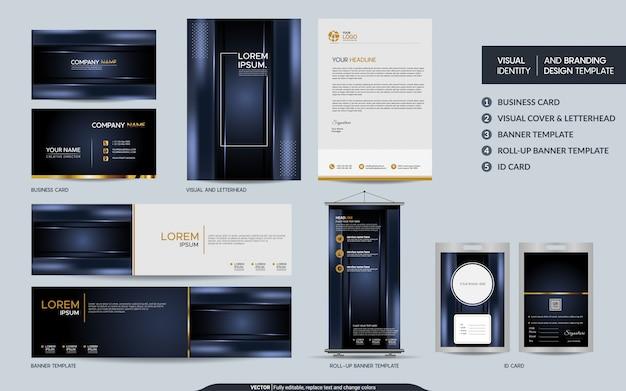 Set di cancelleria di lusso blu scuro scuro e identità visiva del marchio con sfondo astratto strati sovrapposti