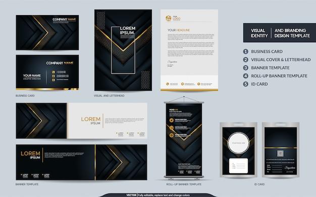 Set di cancelleria di lusso in oro nero e identità visiva del marchio con strati di sovrapposizione astratti sfondo