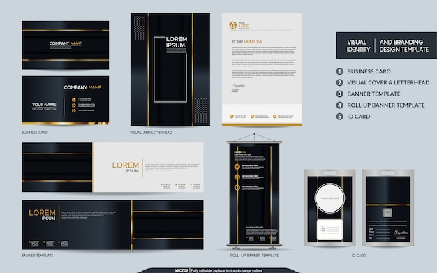 Set di cancelleria di lusso in oro nero e identità visiva del marchio con strati di sovrapposizione astratti sfondo.