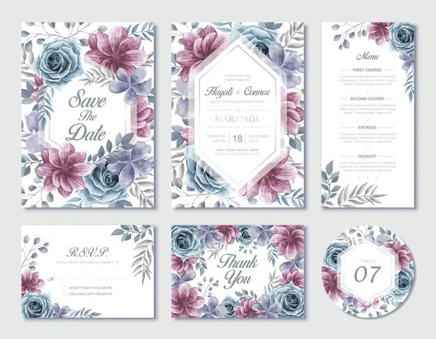 Set di cancelleria floreale dell'acquerello dell'invito di nozze con rsvp e carta di ringraziamento