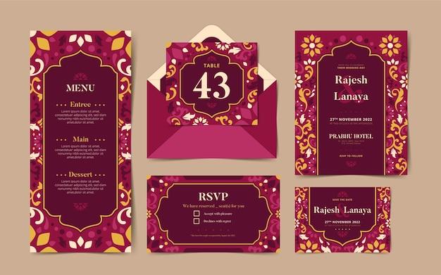 Set di cancelleria per matrimonio indiano
