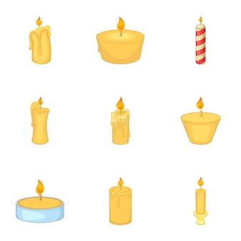 Set di candele accese, stile cartoon