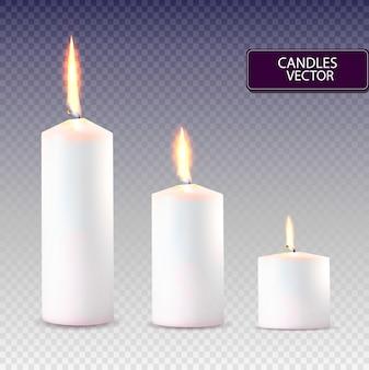 Set di candele bianche realistiche.