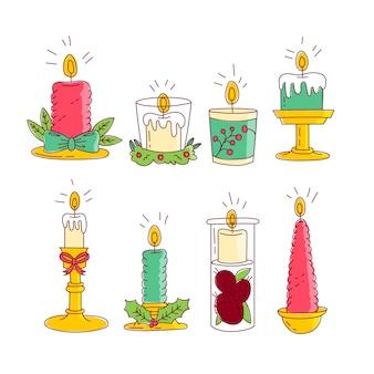 Set di candele di natale disegnati a mano