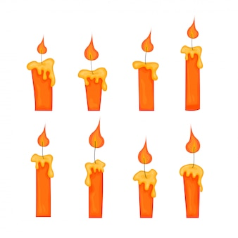 Set di candele gialle con fiamme in stile cartone animato