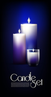 Set di candele incandescenti realistiche