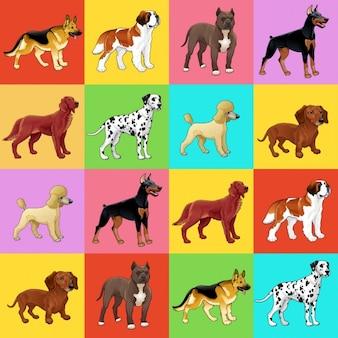 Set di cane con sfondo per una possibile imballaggio o grafica