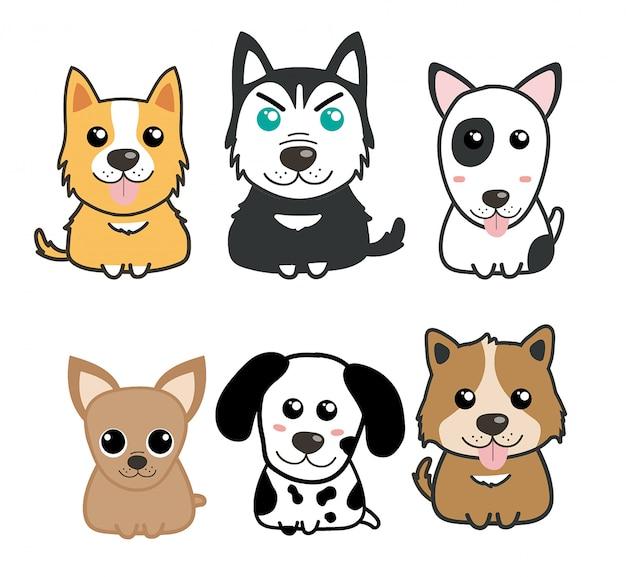 Set di cani carino