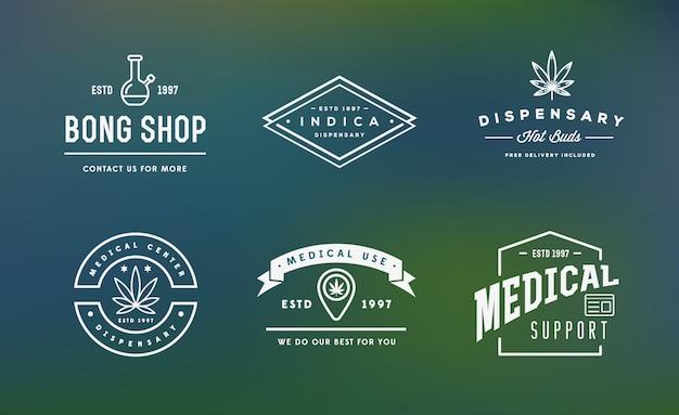 Set di cannabis medica segno di marijuana o modello di etichetta in può essere utilizzato come un logotipo.