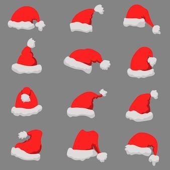 Set di cappelli di babbo natale tema natalizio.