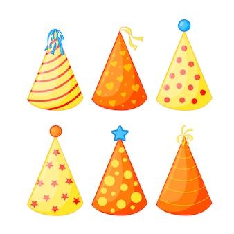 Set di cappelli di compleanno. isolato.