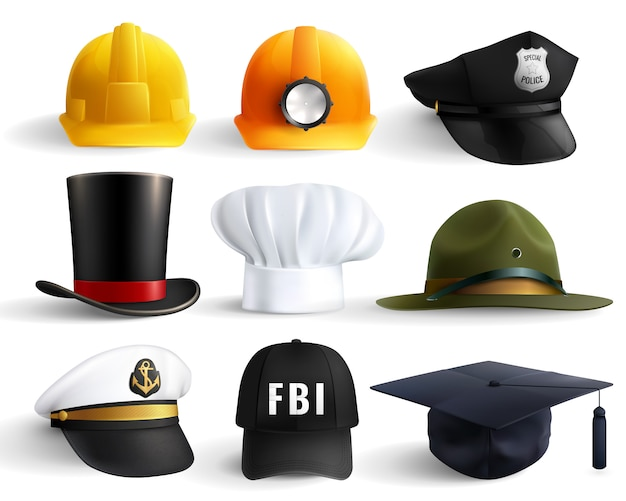 Set di cappelli di diverse professioni