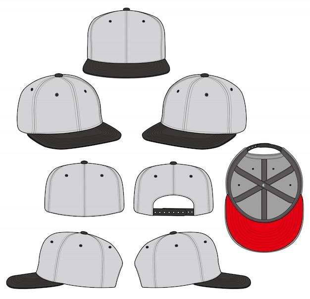 Set di cappelli snapback modello di vettore di disegno tecnico piatto di moda