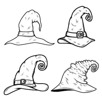 Set di cappello da strega illustrazione isolati su sfondo bianco.