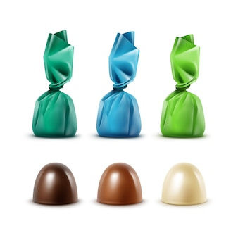 Set di caramelle al cioccolato realistiche