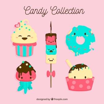 Set di caramelle dei cartoni animati in stile piano