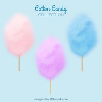 Set di caramelle di cotone colorato