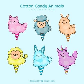 Set di caramelle di cotone con forme animali