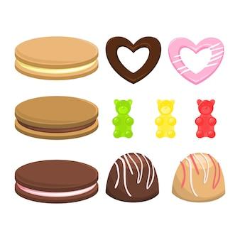 Set di caramelle. raccolta di dolci da dessert. biscotti