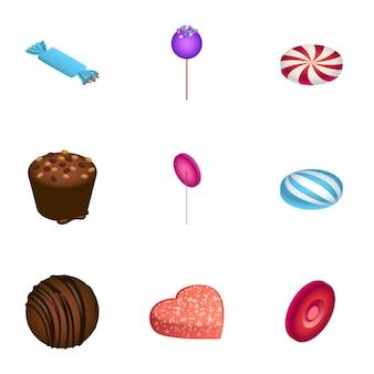 Set di caramelle, stile isometrico