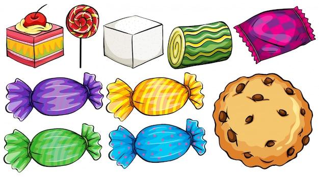 Set di caramelle su uno sfondo bianco