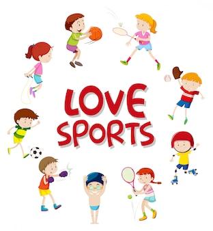 Set di carattere di atleti di sport