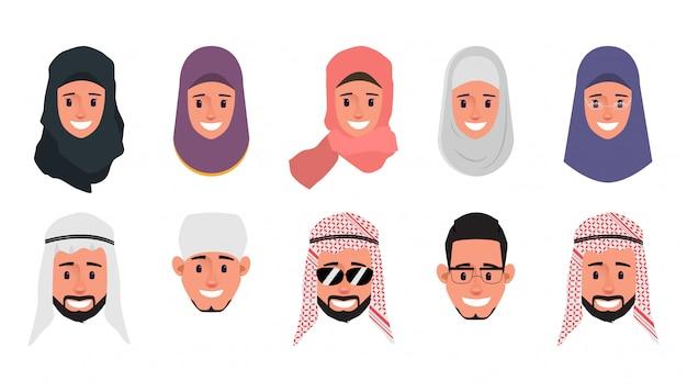 Set di carattere di faccia di emozione araba, musulmana, emirates.