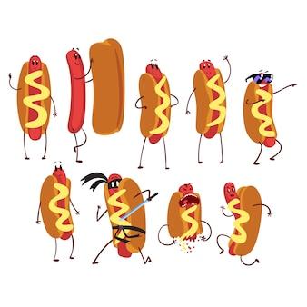Set di carattere divertente del fumetto hot dog in azione. sicuro di sé, nudo, amichevole, in esecuzione, ninja, freddo, spaventato. concetto di fast food. illustrazione su sfondo bianco.