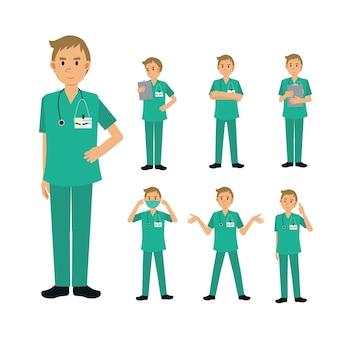 Set di carattere maschio medico chirurgo. illustrazione medica.