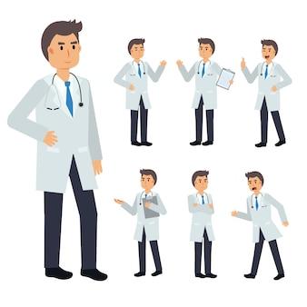 Set di carattere medico maschio. illustrazione medica.