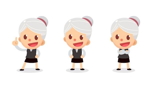Set di carattere piccola imprenditrice in azioni. una donna con i capelli grigi. parla e parla.