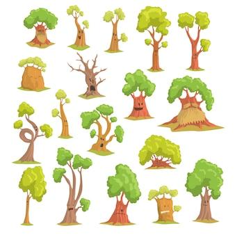Set di caratteri albero carino, alberi umanizzati divertenti con diverse emozioni colorate illustrazioni disegnate a mano su sfondo bianco