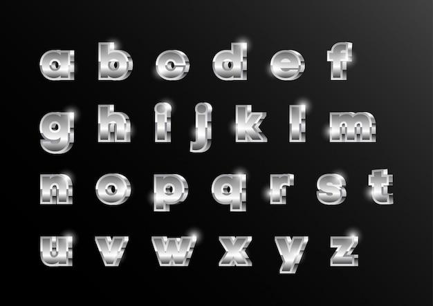 Set di caratteri alfabetici minuscoli metallici argento 3d