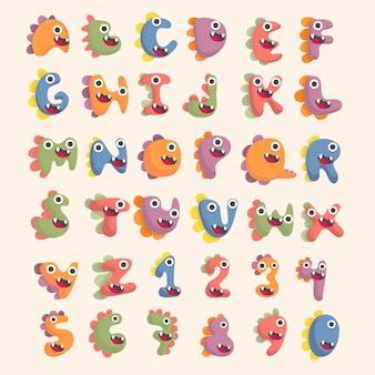 Set di caratteri alfabeto dinosauro carino