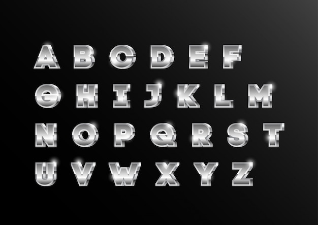 Set di caratteri alfabeto maiuscolo metallico argento 3d