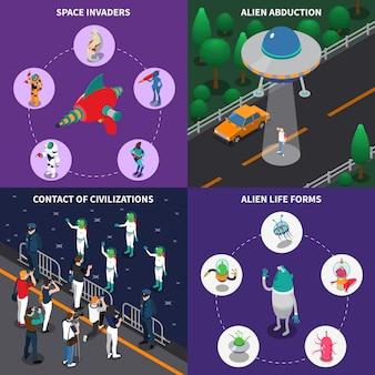 Set di caratteri alieni 2x2 isometrici