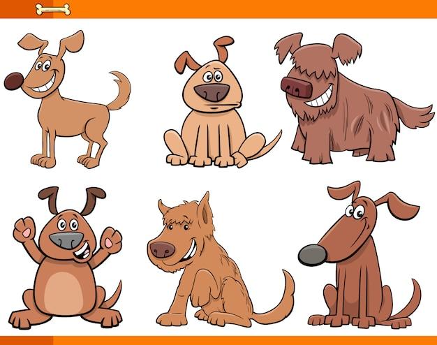 Set di caratteri animali del fumetto di cani e cuccioli