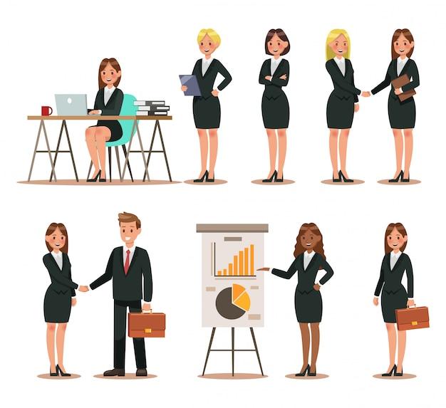 Set di caratteri aziendali che lavorano in ufficio
