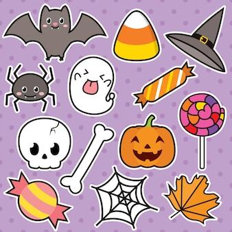 Set di caratteri carino illustrazione di halloween
