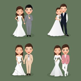 Set, di, caratteri, carino, sposa, e, groom., coppia matrimonio, cartone animato, amore