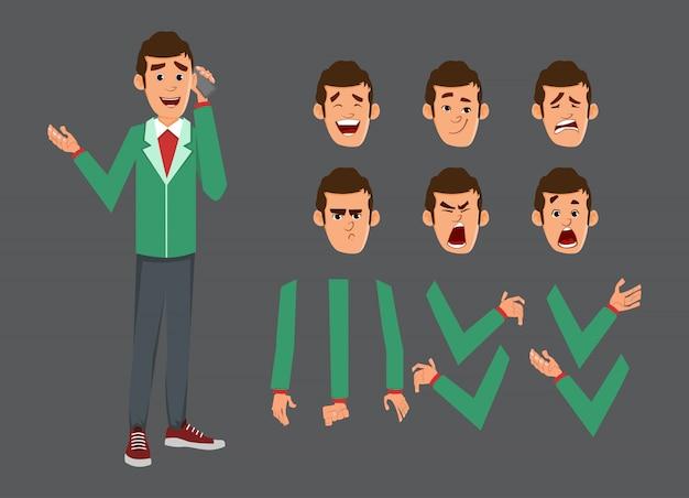 Set di caratteri carino uomo d'affari per animazione o movimento