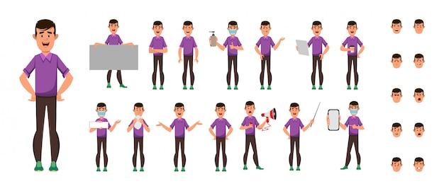 Set di caratteri casuali del fumetto del ragazzo
