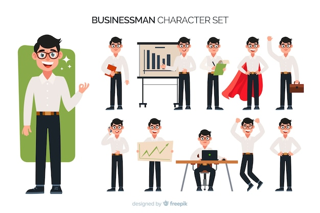 Set di caratteri del bel uomo d'affari