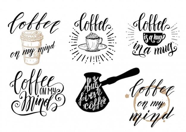 Set di caratteri del caffè. set di citazioni di caffè