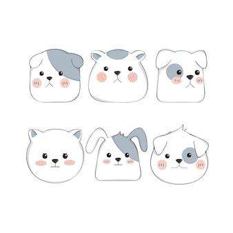 Set di caratteri del cane carino cartone animato