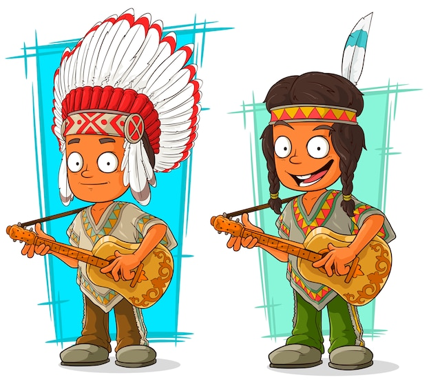 Set di caratteri del capo e del ragazzo indiani del fumetto