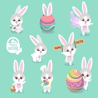 Set di caratteri del coniglietto di pasqua