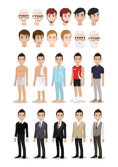 Set di caratteri del fumetto dell'uomo d'affari. uomo d'affari bello nel suo stile di vita.